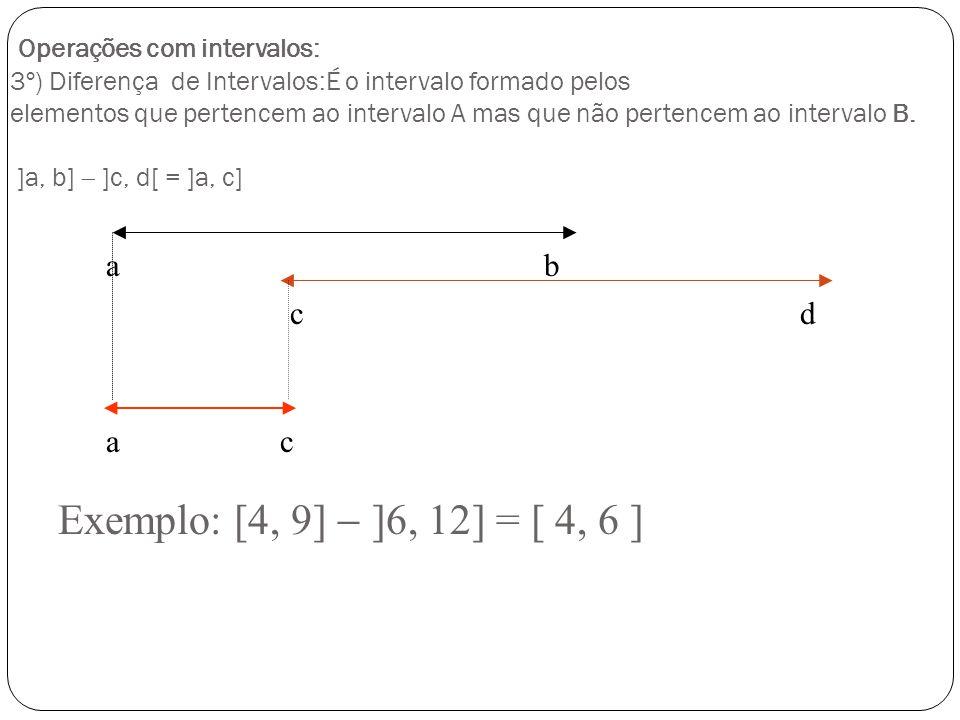 Operações com intervalos: 3º) Diferença de Intervalos:É o intervalo formado pelos elementos que pertencem ao intervalo A mas que não pertencem ao intervalo B. ]a, b]  ]c, d[ = ]a, c]